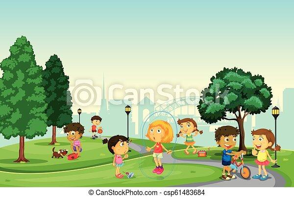 parco, bambini giocando - csp61483684