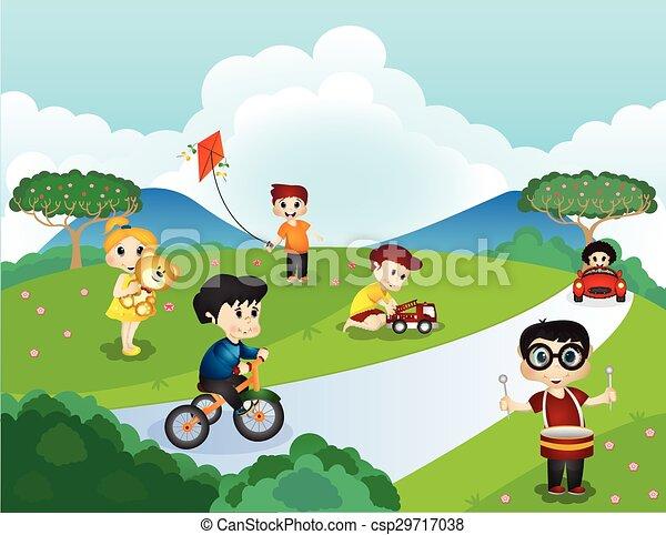 parco, bambini giocando - csp29717038