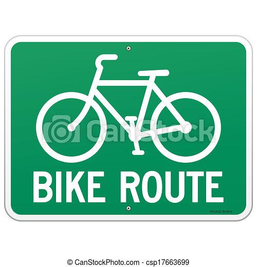 parcours, vélo, signe - csp17663699