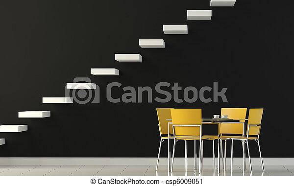 Diseñar pared negra con sillas amarillas - csp6009051