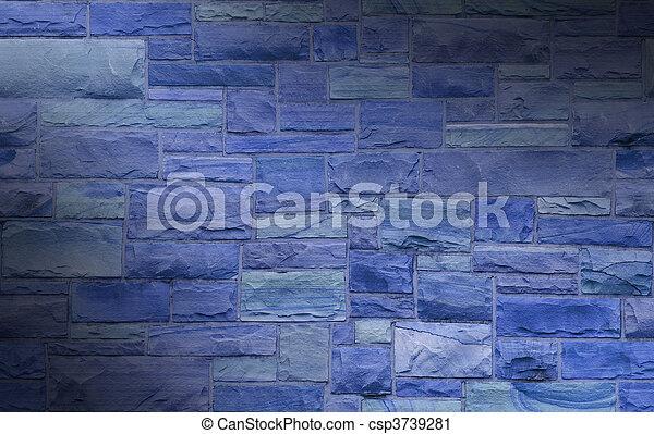 La pared de masones azules se encendió diagonalmente - csp3739281
