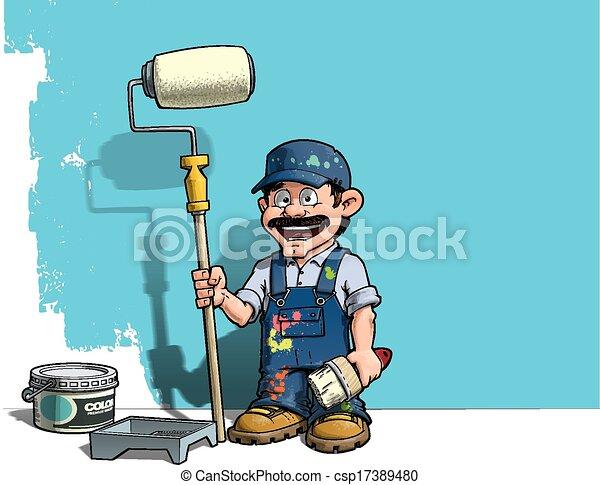 Handyman, pintor azul de pared uniforme - csp17389480
