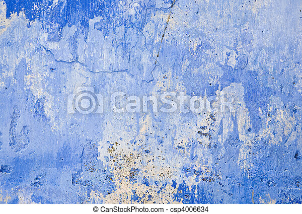 pared azul, grunge - csp4006634