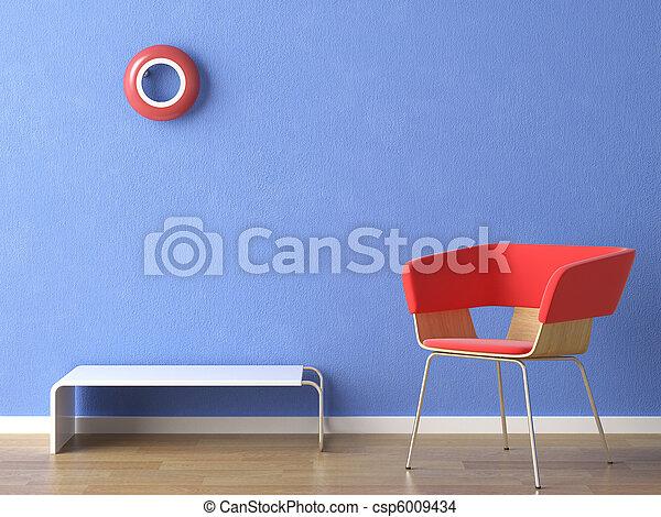 Una silla roja en la pared azul - csp6009434