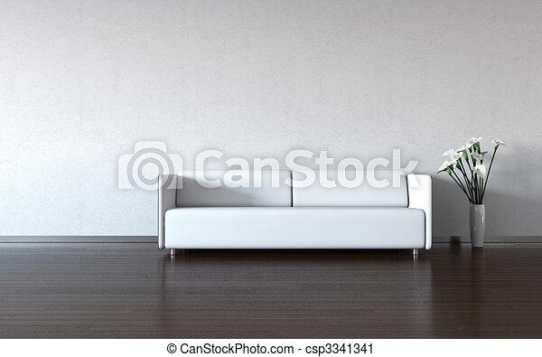 Minimismo: sofá blanco y jarrón junto a la pared - csp3341341