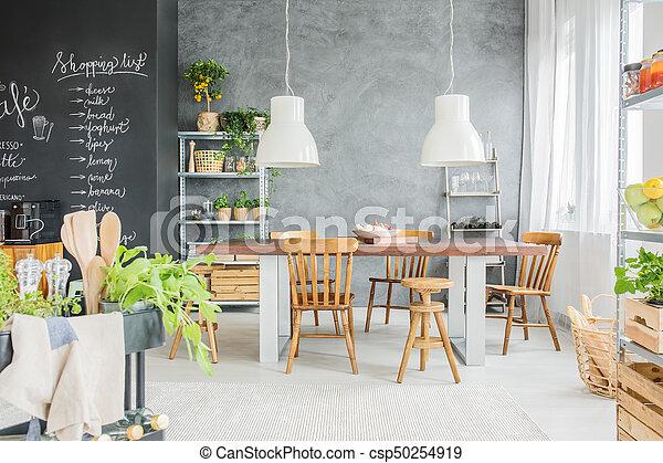 Pared, comedor, pizarra. Habitación, cenar, alimento, moderno, pared ...