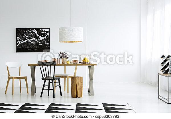 Pared, comedor, vacío. Modelado, de madera, habitación, pared ...