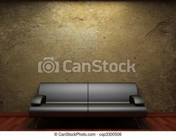 La vieja pared de hormigón y el sofá - csp3300506