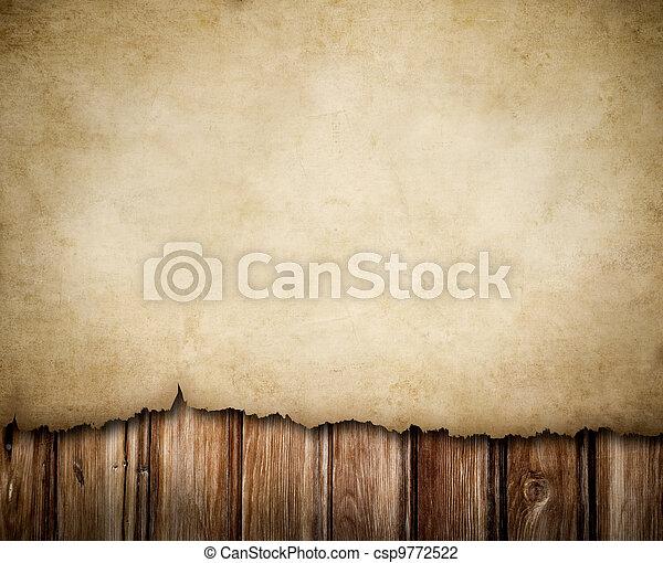 Papel grunge sobre fondo de pared de madera - csp9772522