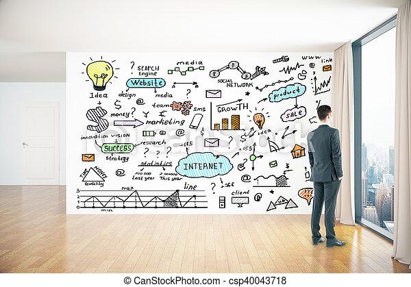 Pared Dibujos Empresa Negocio Empresa Negocio Colorido - Dibujos-de-pared