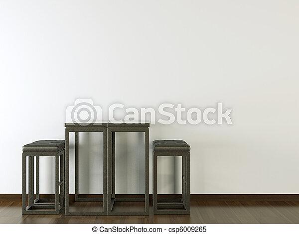 El interior diseña muebles negros en la pared blanca - csp6009265