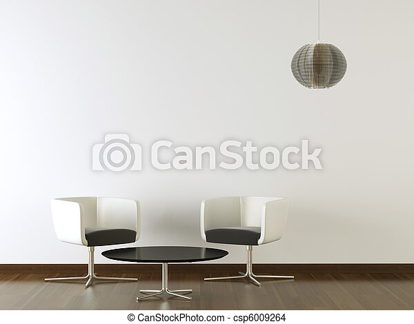 El interior diseña muebles negros en la pared blanca - csp6009264