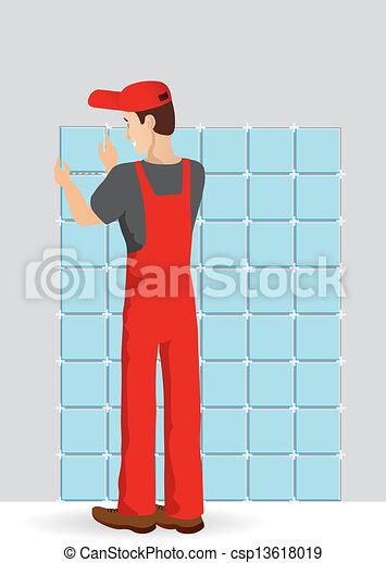 Hombre inclinando una pared en la habitación - csp13618019