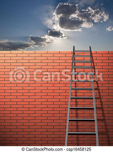 La escalera se apoya en la pared con el cielo - csp16458125