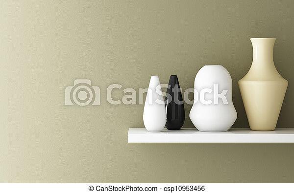 lnterior de ocre amarillo y cerámica en estantería decorada, 3d - csp10953456