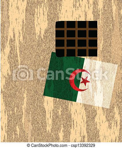 Fuera de la pared con la bandera Argelia - csp13392329