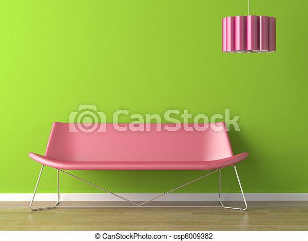 Diseño de interior de pared verde, sofá y lámpara - csp6009382