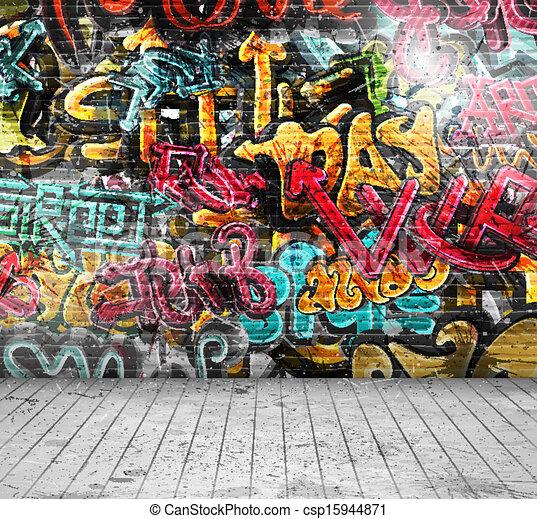 Graffiti en la pared - csp15944871
