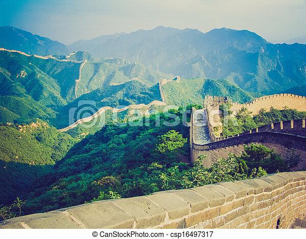 El estilo chino del gran muro retro - csp16497317