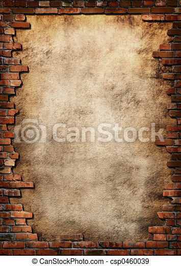 pared, grungy, ladrillo, marco - csp0460039