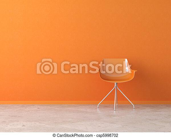 Interior de pared naranja con espacio de copia - csp5998702