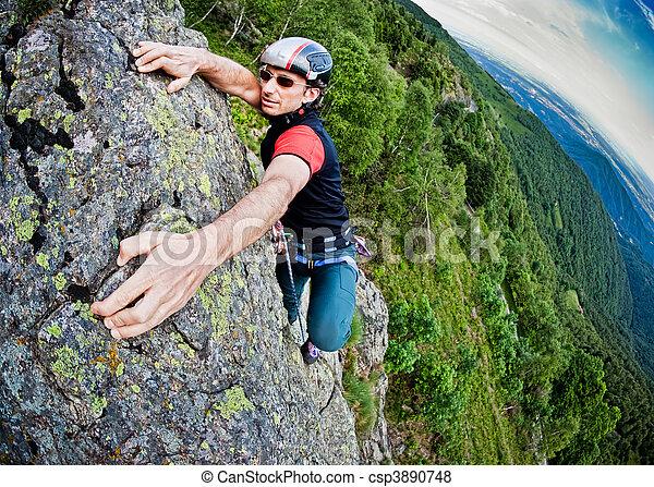 pared, joven, montañismo, blanco, escarpado, hombre - csp3890748