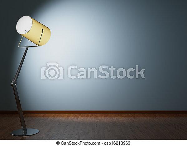 La lámpara de piso ilumina la pared - csp16213963