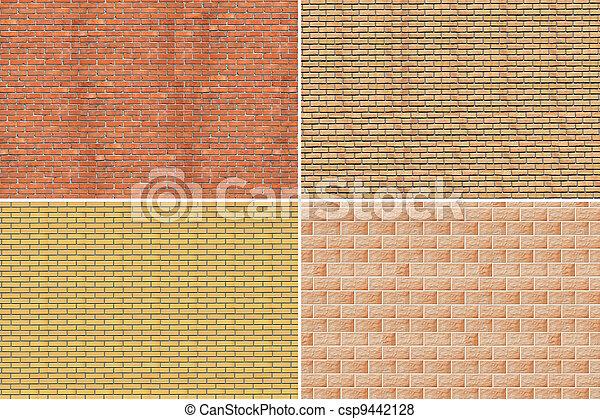 Collage. La pared de ladrillos - csp9442128