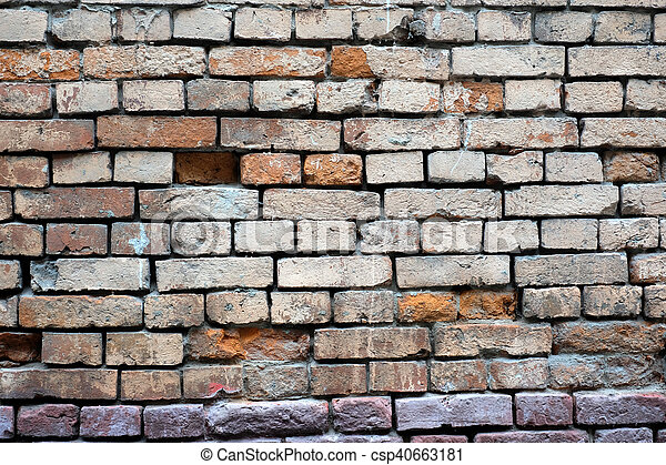 Pared, ladrillos, vista, primer plano, frente. Viejo, pared ...