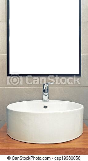 Pared, lavabo, cuarto de baño, moderno, espejo. Cuarto de baño ...