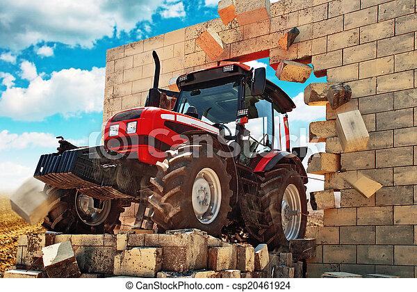 Nuevo Tractor rompiendo la pared - csp20461924