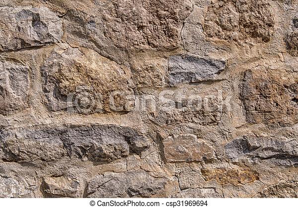 Muro de roca de albañil marrón - csp31969694
