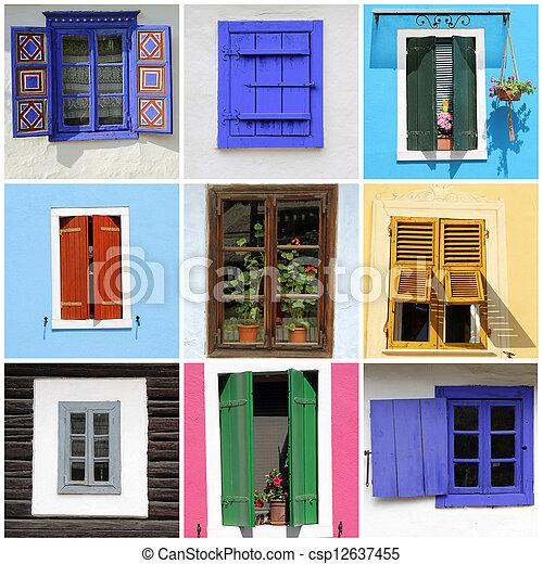 Una pared abstracta con imágenes de ventanas rústicas - csp12637455