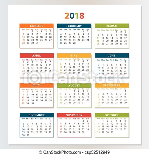 Calendario 206.Pared Saturday Domingo 2018 Calendario