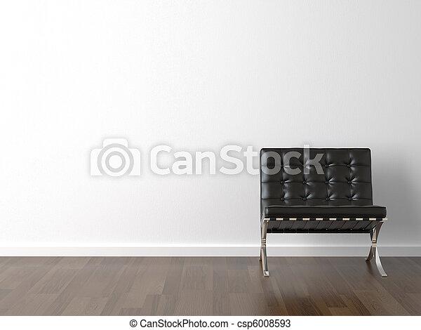 Una silla negra en la pared blanca - csp6008593