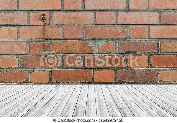 Pared Textura Madera Terraza Ladrillo Rojo
