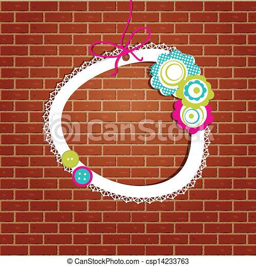 Un marco antiguo en el fondo de la pared de ladrillos - csp14233763