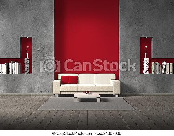 Sala de estar ficticia con pared marrón - csp24887088