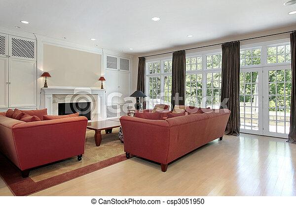 Habitación familiar con pared de ventanas - csp3051950
