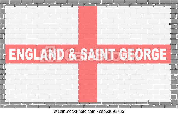 parede, bandeira, cinzento, são, george - csp63692785