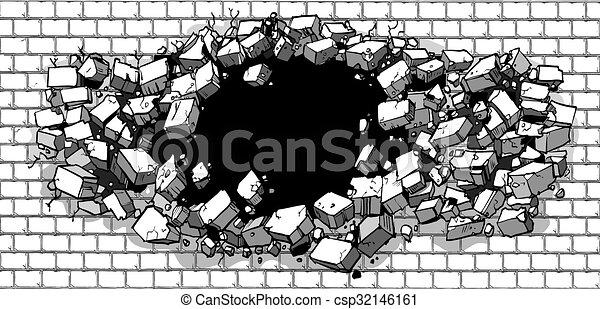 parede, buraco, quebrando, tijolo - csp32146161