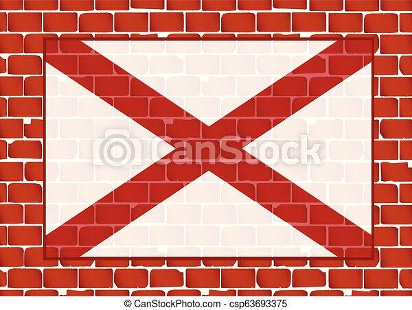 parede, estado alabama, tijolo, bandeira - csp63693375