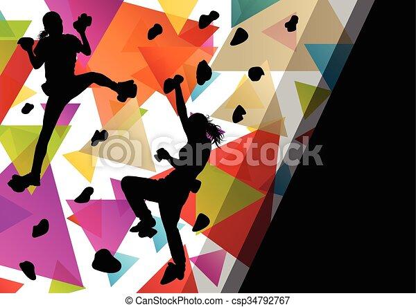 parede, ilustração, saudável, silhuetas, fundo, ativo, escalando, menina, desporto, crianças - csp34792767