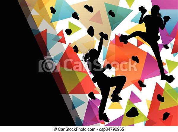parede, ilustração, saudável, silhuetas, fundo, ativo, escalando, menina, desporto, crianças - csp34792965