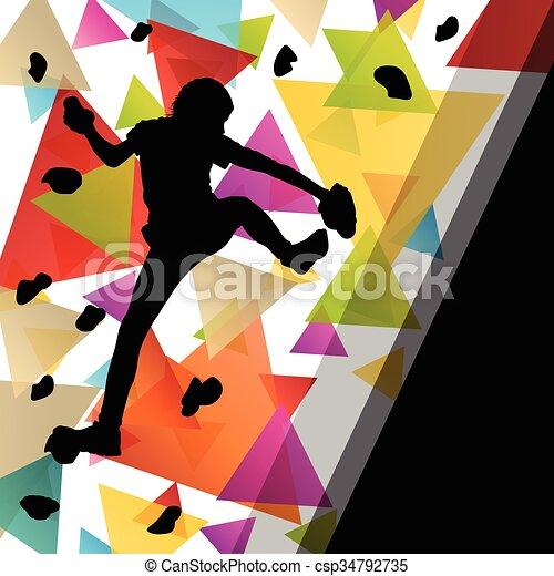 parede, ilustração, saudável, silhuetas, fundo, ativo, escalando, menina, desporto, crianças - csp34792735