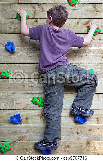 parede, menino, escalando - csp3707716
