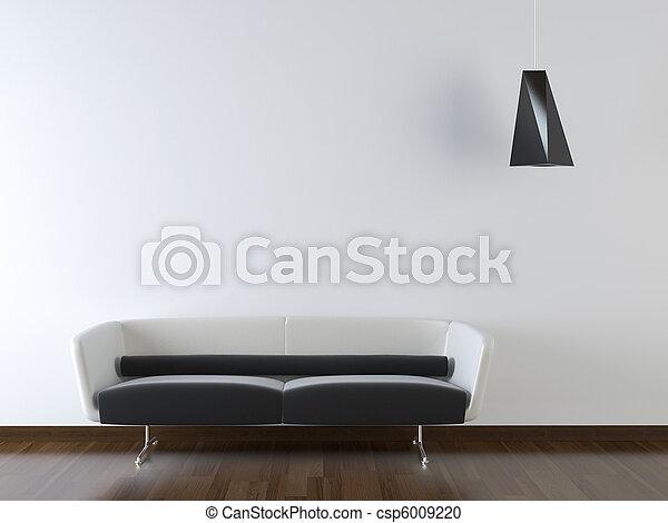 parede, modernos, sofá, desenho, interior, branca - csp6009220