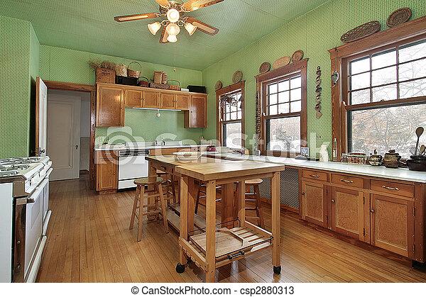 Paredes, cocina verde. Isla, paredes, madera, cocina verde.