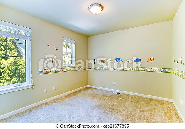 Un cuarto de niños vacío con paredes pintadas - csp21677835