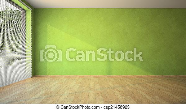 Habitación vacía con paredes verdes y parquet - csp21458923